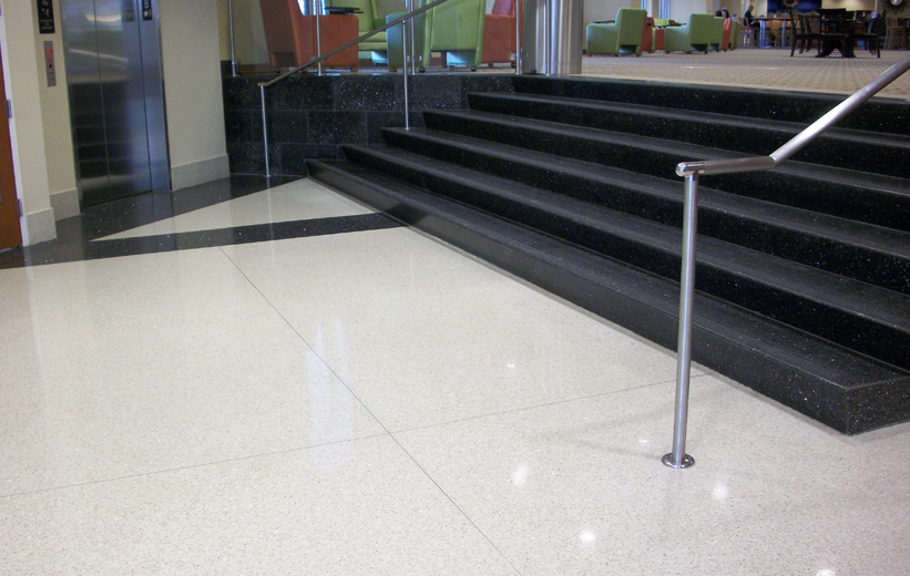 White terrazzo floors and black precast terrazzo stairs at High Point University