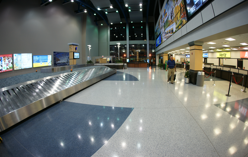 Traveler walking on terrazzo at Huntsville International Airport