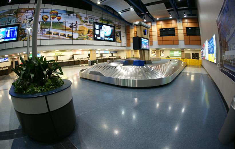 Blue Terrazzo Floors at Huntsville International Airport