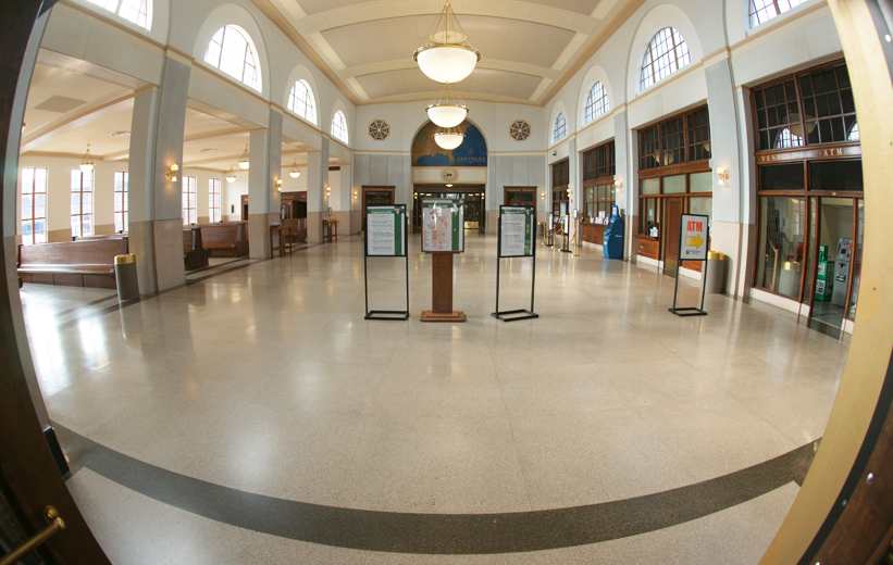 Terrazzo tiles across train station walkway at J. Douglas Galyon Depot