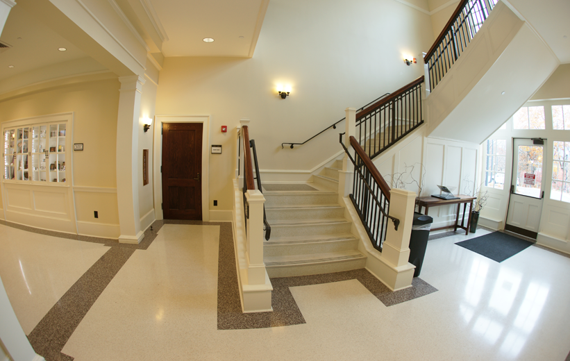Precast terrazzo stairs and floor at Jackson County Courthouse in North Carolina