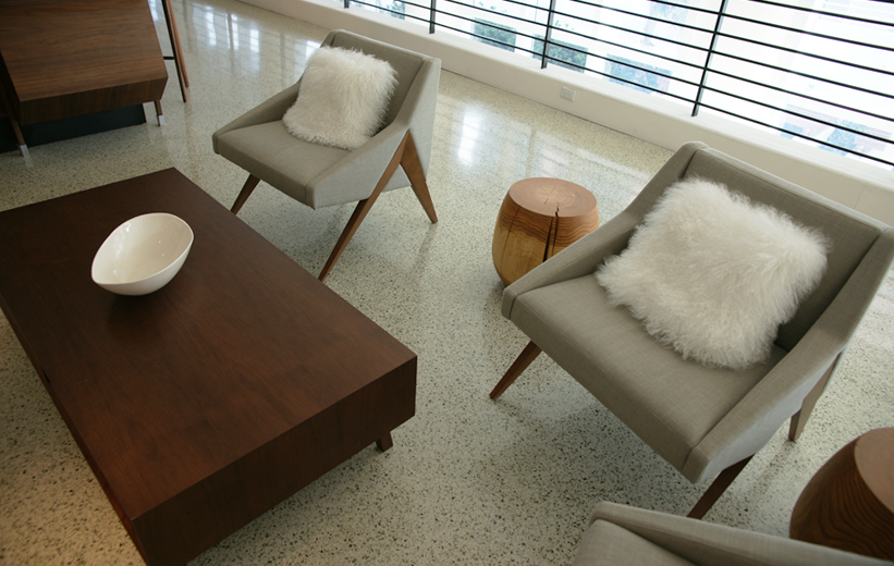 Interior furniture plus terrazzo flooring at James Royal Palms Hotel in Miami, Florida