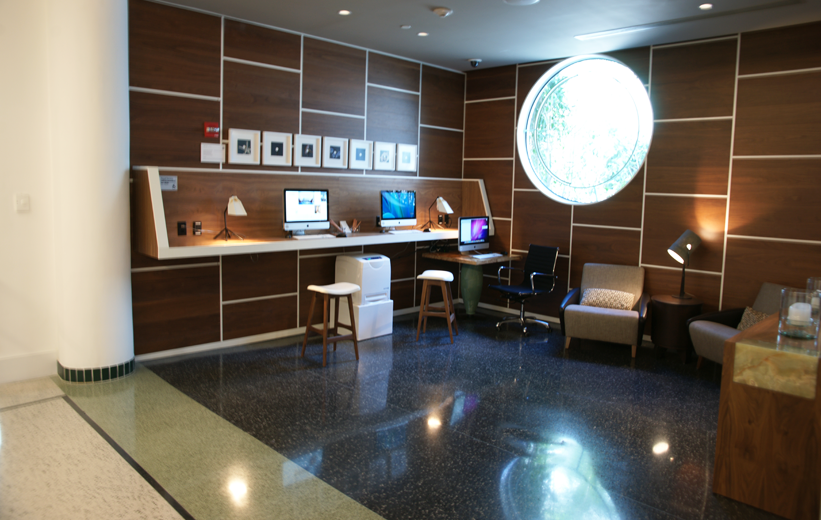 Epoxy terrazzo flooring in the internet service area of the James Royal Palms Hotel