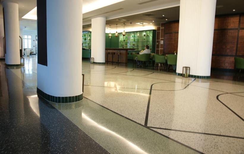 Epoxy Terrazzo flooring flow through the hallways of the James Royal Palms Hotel in Miami, Florida