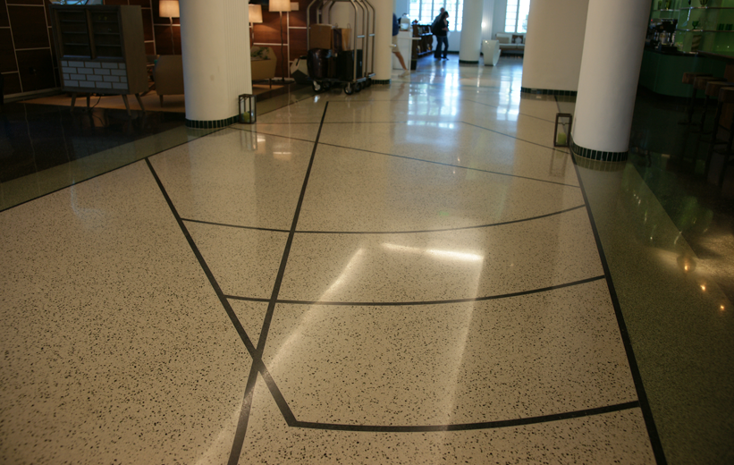 Interesting Terrazzo Floor Design at the James Royal Palms Hotel in Miami, Florida
