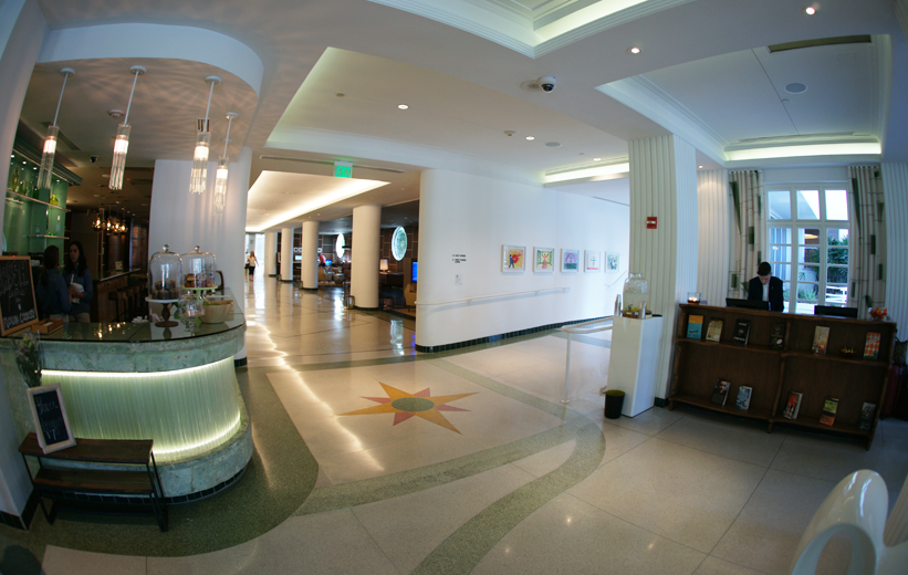 Epoxy terrazzo floor connect the lobby area to the guest rooms at the James Royal Palms Hotel
