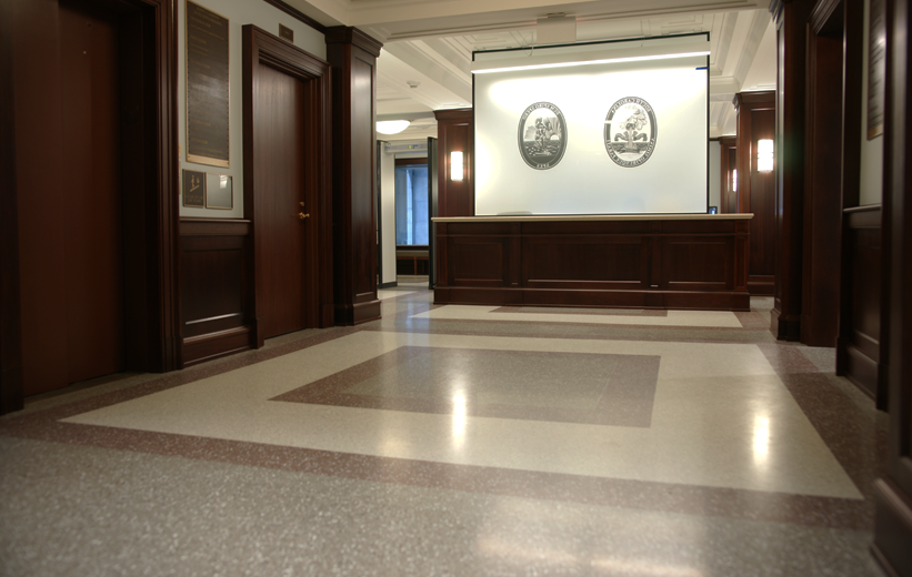gray and brown terrazzo floor finish