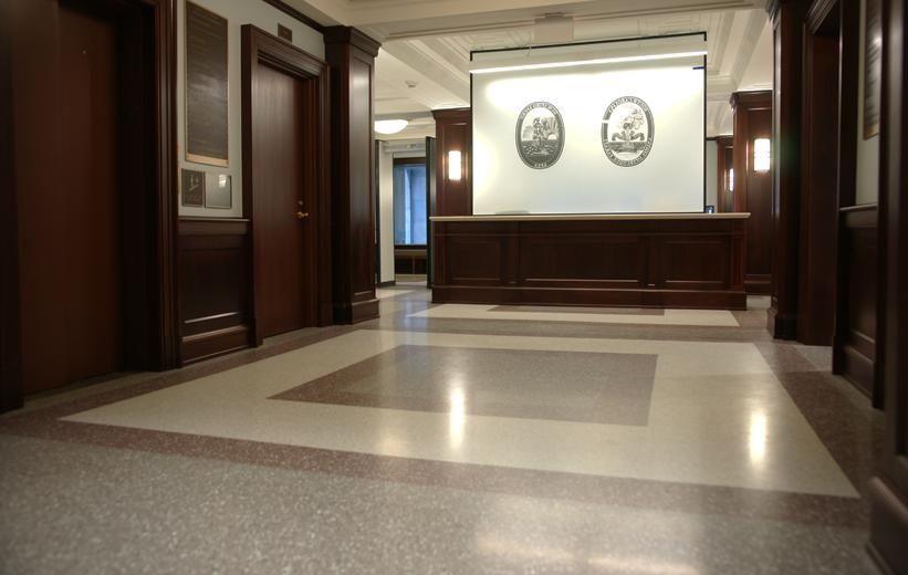 gray and brown terrazzo floor finish
