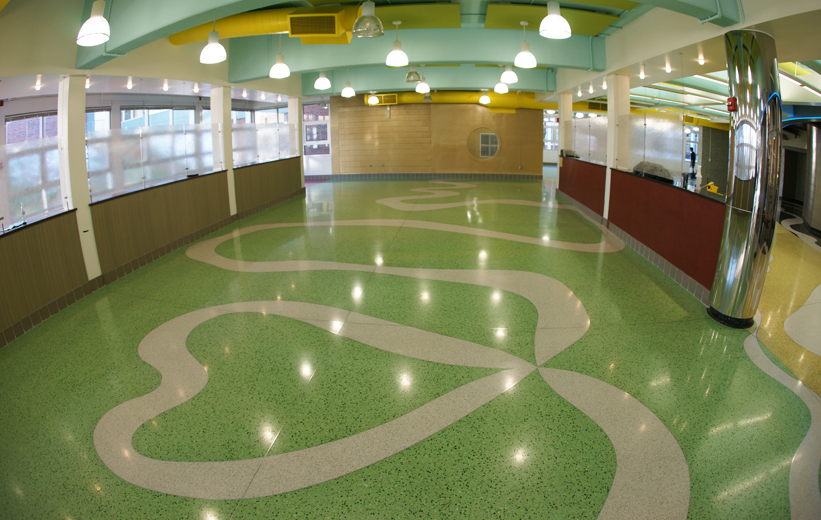 Cafeteria Flooring Design in Terrazzo at John F. Kennedy High School