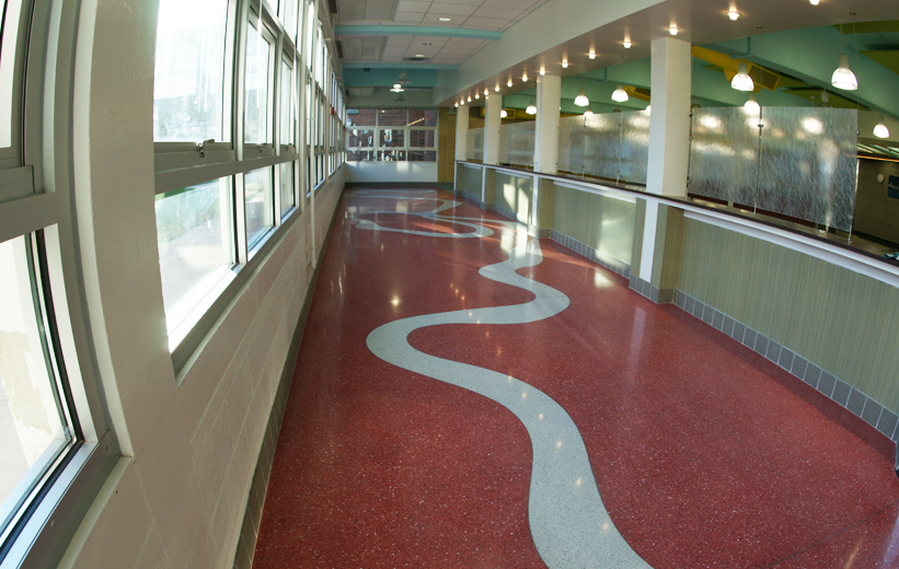 Terrazzo wayfinding design at John F. Kennedy High School