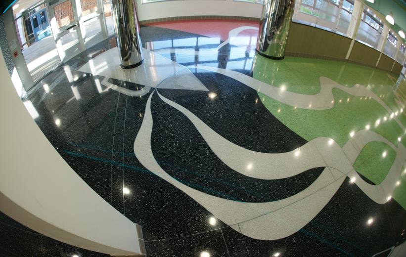 Colorful Terrazzo Flooring at John F. Kennedy High School