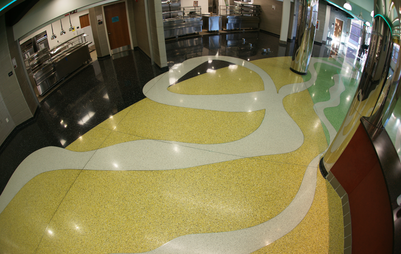 Free Flowing Lines Floor Terrazzo Design at John F. Kennedy High School