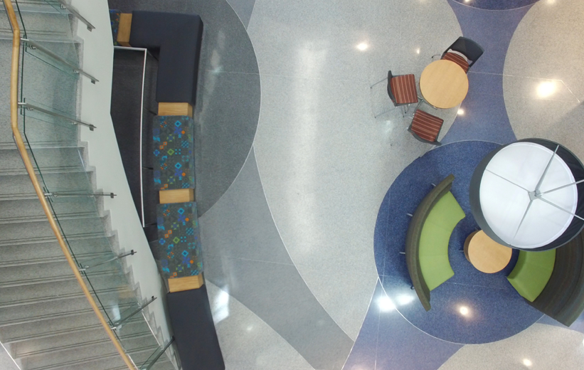 Aerial View of the Terrazzo Floor Design at Johnson C. Smith University