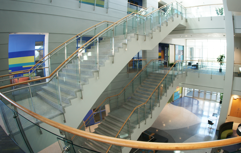 Two flights of precast terrazzo stair treads and risers at Johnson C. Smith University