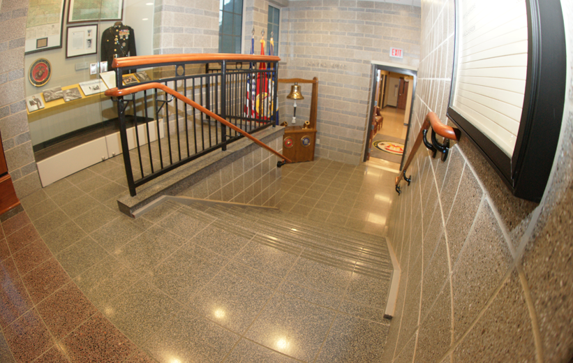 Cementitous Precast terrazzo stair tread and tile installation at Kilbourne Hall