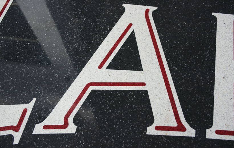 Terrazzo Letters Logo at Lakeside Junior High School in Arkansas
