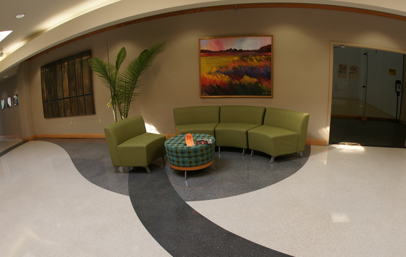 MUSC Wellness Center Green Chairs and Multi-color terrazzo floor