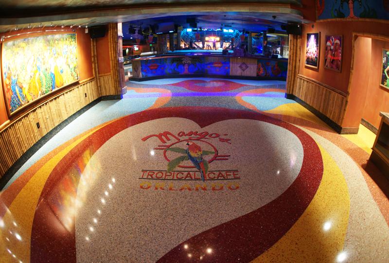Mango's Tropical Cafe in Orlando with colorful epoxy terrazzo flooring
