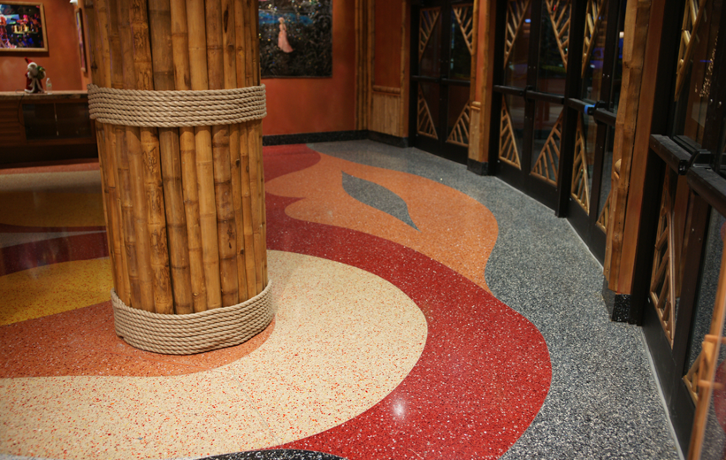 Lip shape terrazzo designs at Mango's Tropical Cafe Orlando