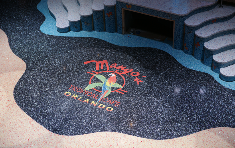 Center stage area designed with epoxy terrazzo materials at Mango's Tropical Cafe in Orlando, Florida