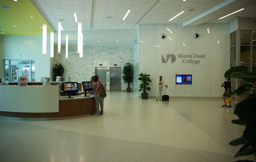Epoxy Terrazzo covers the entire lobby area at Miami Dade College