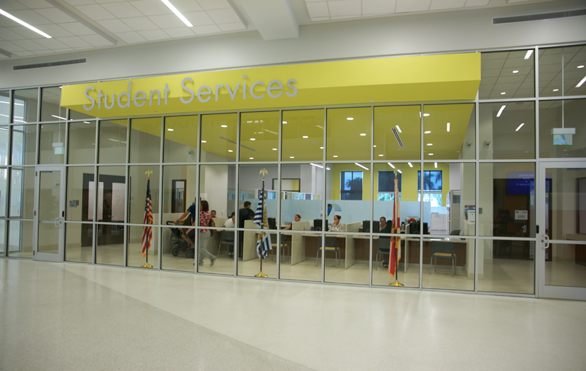 White Epoxy Terrazzo Floor installed outside student services at Miami Dade College