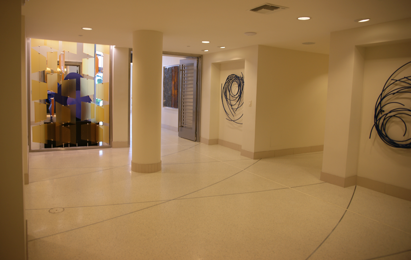 White epoxy terrazzo floors at Moda North Bay Village Luxury Apartments in Florida