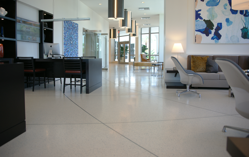 Terrazzo flooring with interior decorations at Moda North Bay Village Apartments in Florida