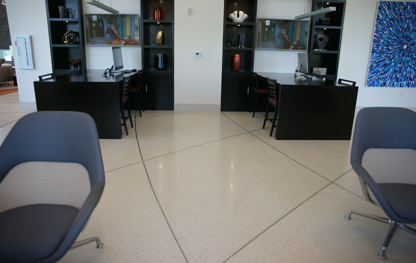 White Epoxy Terrazzo Flooring in office space of Moda North Bay Village Apartments