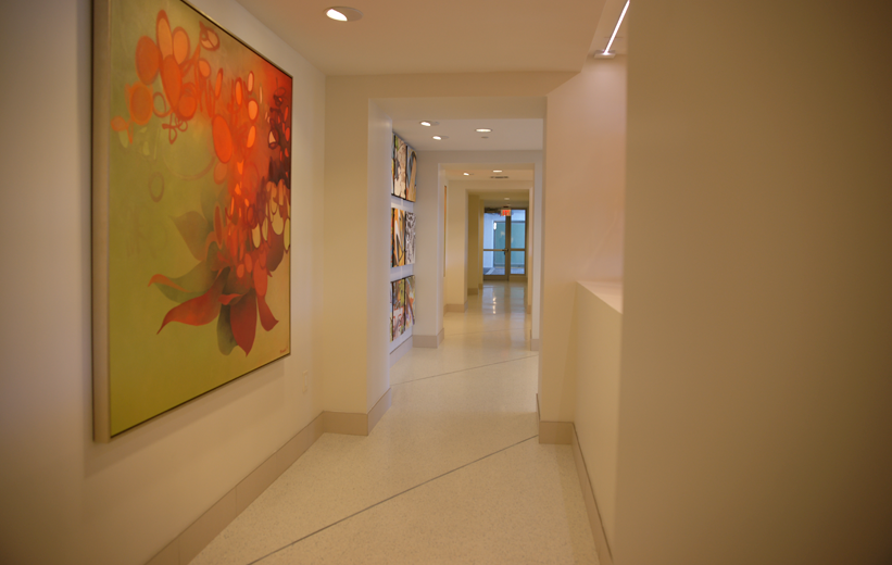 Art gallery inside Moda North Bay Village with epoxy terrazzo flooring