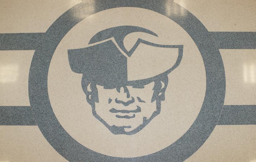 Moultrie Middle School logo in epoxy terrazzo