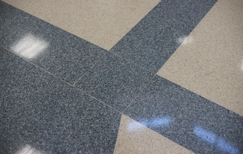 White and Blue Epoxy Terrazzo Flooring at Moultrie Middle School