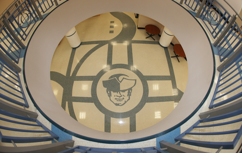 Aerial view of the terrazzo logo at Moultrie Middle School