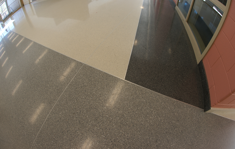 White Gray and Black Epoxy Terrazzo Floor at Muller Road Middle School