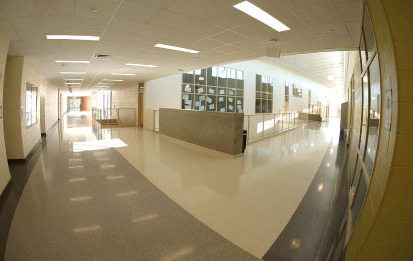 Seamless White Epoxy Terrrazzo Flooring at Muller Road Middle School