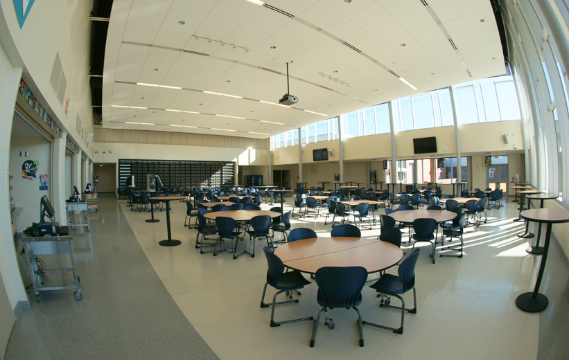 White Thin-Set Epoxy Terrazzo in the Dining Area of Muller Road Middle School