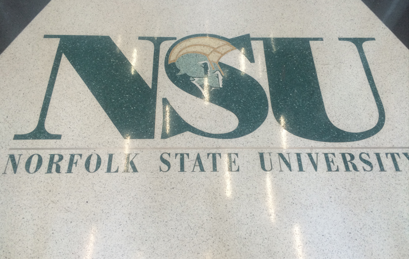 Norfolk State University terrazzo letttering and logo