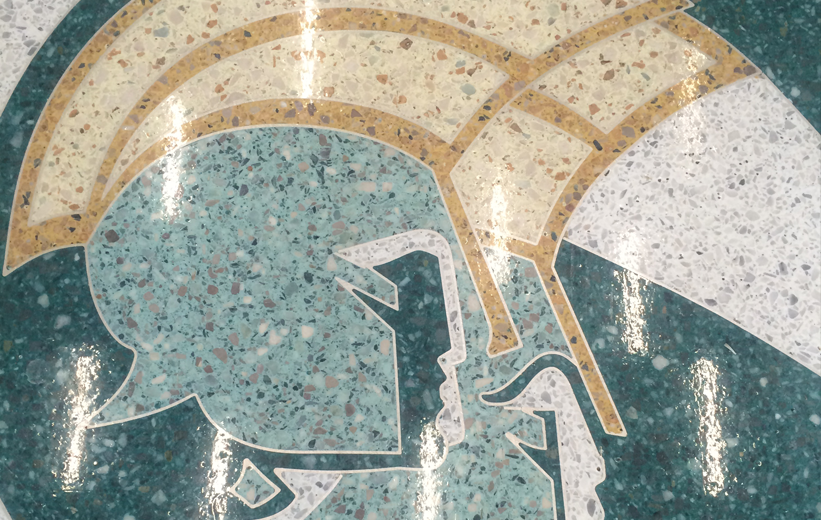 Norfolk State University spartan logo in green and yelllow epoxy terrazzo