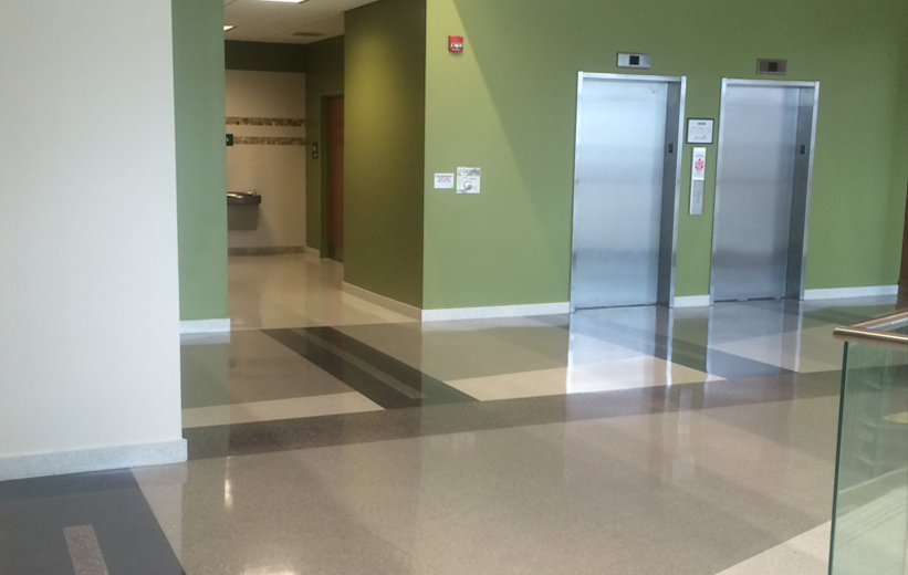 Green walls and epoxy terrazzo floor at Norfolk State University
