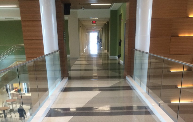 Creative terrazzo flooring matches the green walls at Norfolk State University