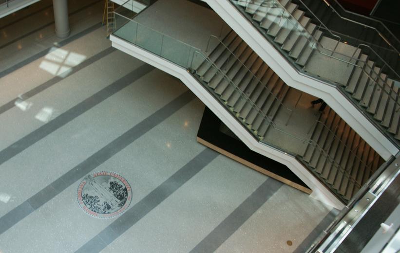 Precast terrazzo stairs and NCSU logo