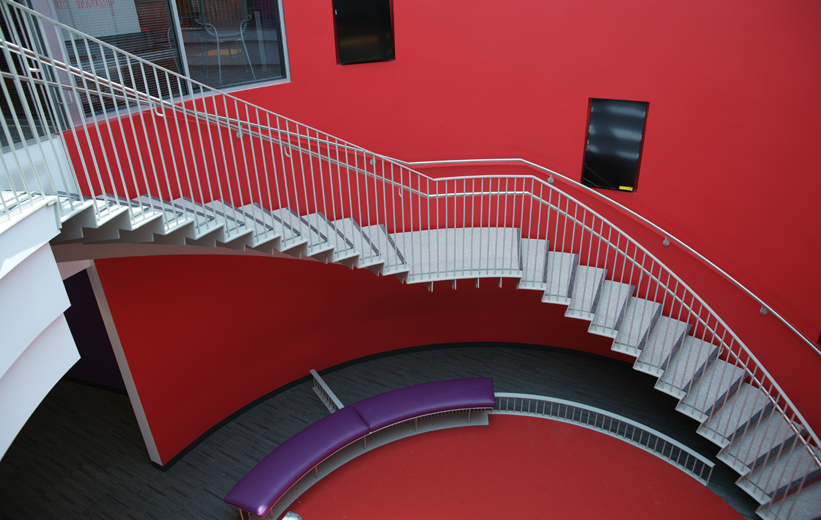 Spiral precast terrazzo tread and riser staircase at North Carolina State University