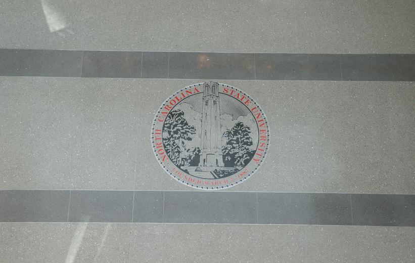North Carolina State University logo in epoxy terrazzo