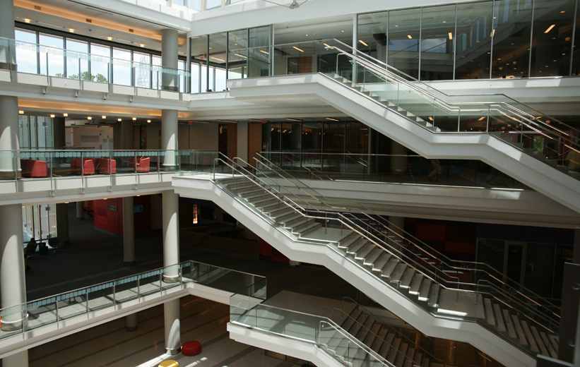 Three flights of precast terrazzo stairs at NCSU Talley Student Center