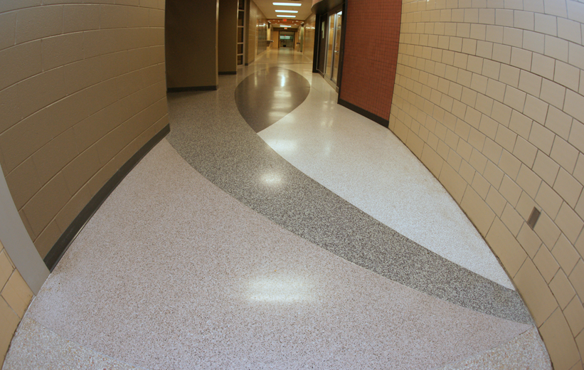 Custom Terrazzo Floor Design at Northside High School in Virginia