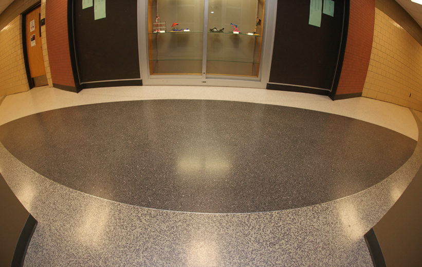 Terrazzo flooring in the hallway of Northside High School