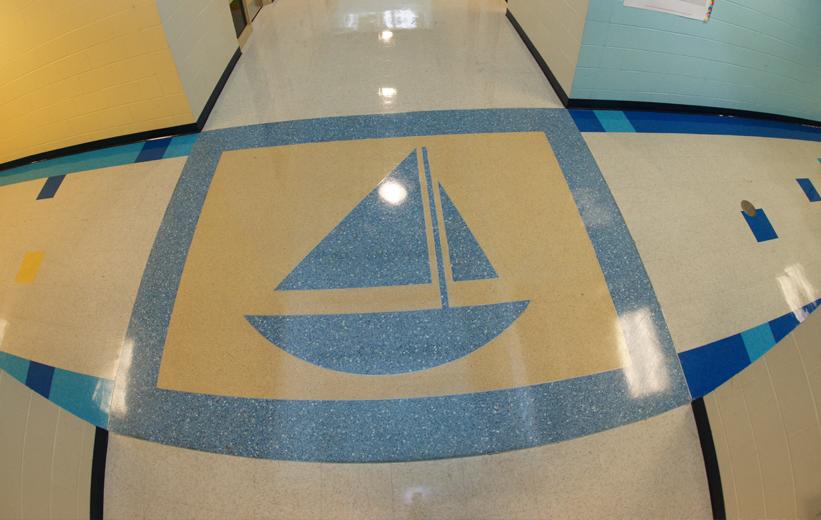Sailboat design in blue epoxy terrazzo at Oakland Elementary School