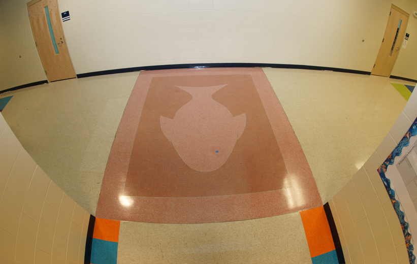 Fish Design in pink terrazzo at Oakland Elementary School