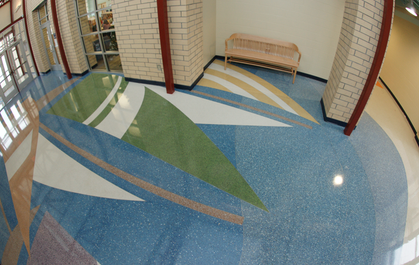 Blue Epoxy Terrazzo floors with sailboat design at Oakland Elementary School
