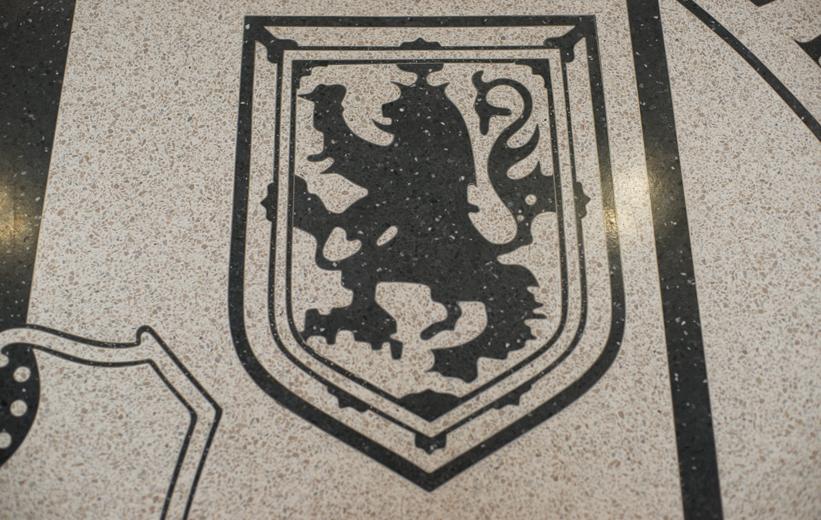 Lion design in black terrazzo at Old Dominion University
